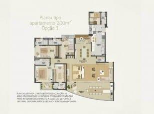 Planta baixa do apartamento 200m² - Opção 01 do Hemisphere 360º
