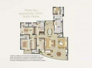 Planta baixa do apartamento 200m² - Opção Padrão do Hemisphere 360º