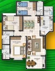 Planta baixa do apartamento 3 quartos com suíte, tipo A - 87,57m2 do Reserva Tropical Residencial
