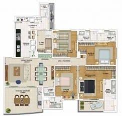 Planta baixa do apartamento 4 quartos, todos suítes com 155,95 m² de área privativa