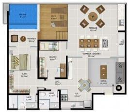 Planta baixa do apartamento cobertura 1501 do 5.ª Avenida Residence