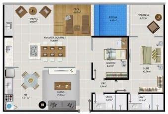 Planta baixa do apartamento cobertura 1502 e 1503 do 5.ª Avenida Residence