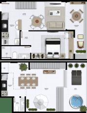 Planta baixa do apartamento cobertura do Atlântico Porto Residence, pavimento inferior com 98m² de área privativa
