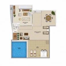 Planta baixa do apartamento cobertura, Pavimento Superior - 150,01 m²
