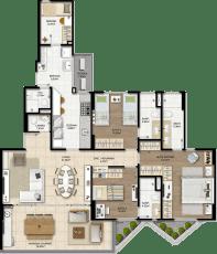 Planta baixa do apartamento tipo 3 suítes do Graça Lummini, um apartamento de luxo com 3 quartos no bairro da Graça, em Salvador, Bahia.
