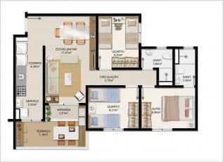 Planta baixa do apartamento Tipo A do Itapuã Parque - 72,56m² - Pav. Térreo - Aptos finais n° 01, 04, 05 e 08.