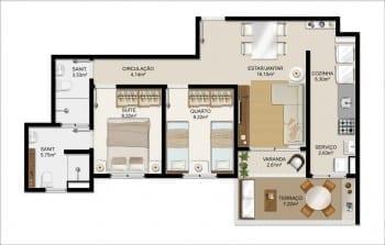 Planta baixa - Apartamento Tipo C do Itapuã Parque - 64,77m² - Pav. Térreo - Aptos finais n° 02 e 03.