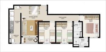 Planta baixa do apartamento Tipo E do Itapuã Parque - 65,43m² - Pav. Tipo - Aptos finais n° 02, 03, 06 e 07.
