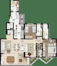 Planta baixa do apartamento tipo opção 02 com 02 suítes com living ampliado e home office do Graça Lummini, um apartamento de luxo com 3 quartos no bairro da Graça, em Salvador, Bahia.