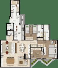 Planta baixa do apartamento tipo opção 03 com duas suítes, living ampliado, suíte master e closet do Graça Lummini, um apartamento de luxo com 3 quartos no bairro da Graça, em Salvador, Bahia.