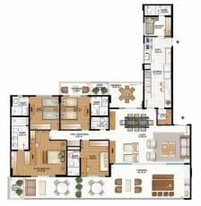 Planta baixa do Apartamento Tipo 4 suítes com suíte master, 222,29m2, do empreendimento Capri - Aquarius, localizado na Pituba, em Salvador.