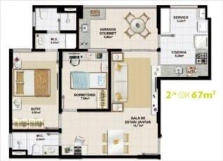Planta baixa do empreendimento - 2 quartos com 67m2