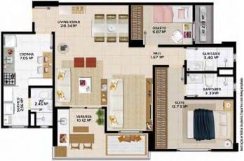 Planta Baixa Stupendo Piatã -3 quartos /Living ampliado, localizado no bairro de Piatã, em Salvador.