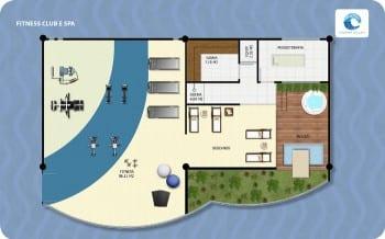 Planta Baixa Fitness Club SPA Ondina Ocean, localizado no bairro de Ondina, em Salvador.