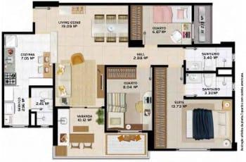 Planta Baixa Stupendo Piatã -3 quartos/cozinha americana, localizado no bairro de Piatã, em Salvador.