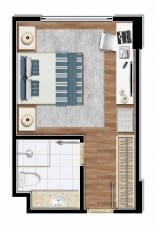 Unidade tipo - Torre Hoteleira - quarto com 22,50m2