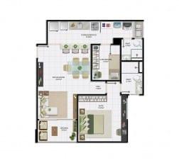 1 quarto com dependência e área útil de 63,28 m² do empreendimento.