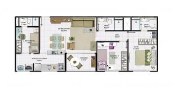 2 quartos com dependência e área útil de 71,30 m² do empreendimento.