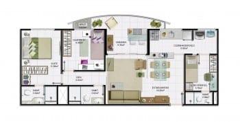 2 quartos com dependência e área útil de 76,67 m² do empreendimento.