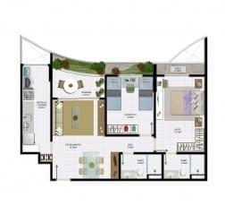 2 quartos com varanda e área útil de 70,10 m² do empreendimento.