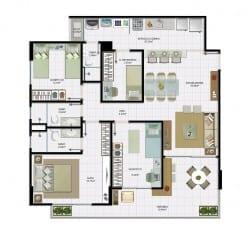 3 quartos com dependência e área útil de 96,94 m² do empreendimento.