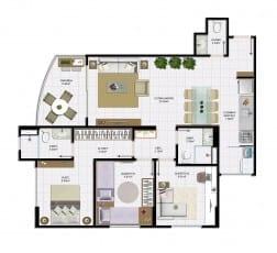 3 quartos com lavabo e área útil de 82,30 m² do empreendimento.