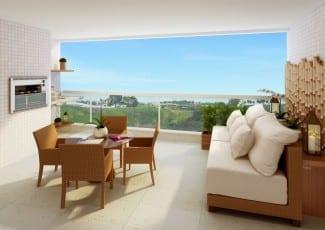 Apartamento perspectiva ilustrada da varanda do Brise