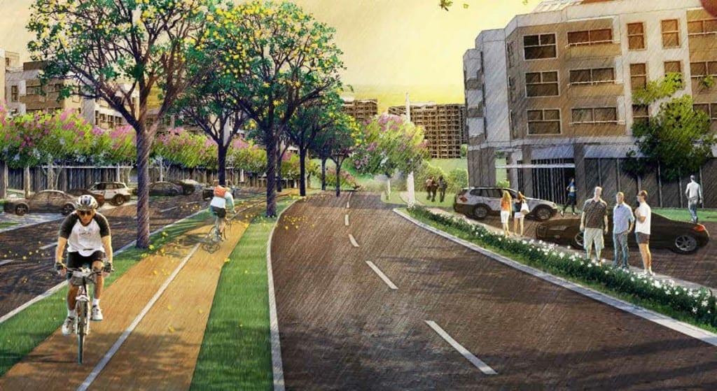 Perspectiva Artística da avenida com ciclovia 2 do Vívea Nova Camaçari