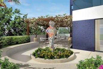 Perspectiva da praça da escultura do empreendimento.