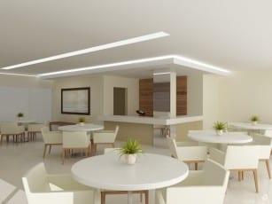 Perspectiva do Salão de festas com espaço gourmet do empreendimento.