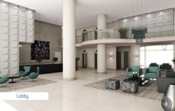 Perspectiva lobby do empreendimento.
