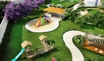 Perspectiva do parque infantil aventura do empreendimento.