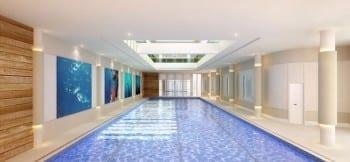 Perspectiva ilustrada da piscina coberta aquecida