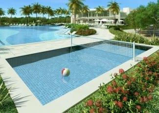 Perspectiva ilustrada da piscina de biribol