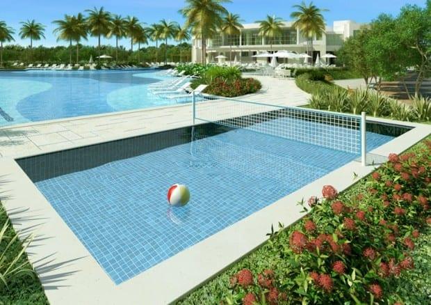 Perspectiva ilustrada da piscina de biribol do Le Parc