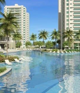 Perspectiva ilustrada da piscina resort