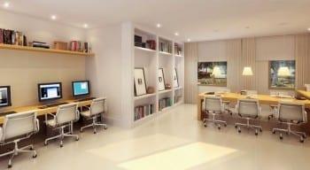 Perspectiva ilustrada da sala de estudo