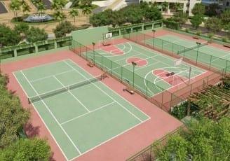 Perspectiva ilustrada das quadras de tênis e poliesportiva