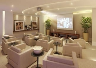 Perspectiva ilustrada do home theater