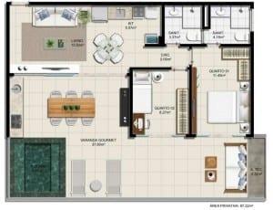 Planta baixa - 2 quartos com 97,22m2 do empreendimento