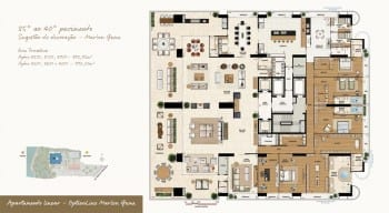 Planta baixa do imóvel de luxo - Apartamento Linear - 35º ao 40º do empreendimento.