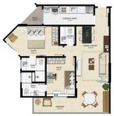 Planta baixa - Privilege - 2 suítes, sala, varanda, lavabo, cozinha e área de serviço em 72,55m2 de área privativa Salvador Prime