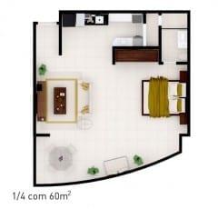 Planta baixa do empreendimento com 60 m² - 2 quartos