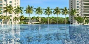 Segunda perspectiva ilustrada da borda infinita da Piscina Resort