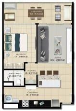 Planta Baixa do empreendimento com 59 m² Tipo 02