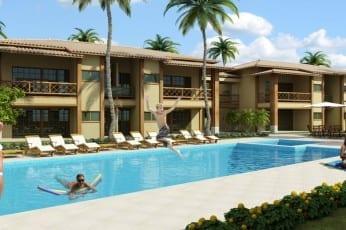 Perspectiva da fachada do apartamento de 2 quartos do condomínio Ponta de Inhambupe, localizado em uma das melhores praias da Bahia, Praia de Baixio.