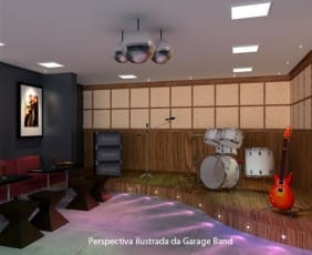 Perspectiva da Garage Band do Máximo Club Residence.