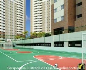 Perspectiva da Quadra Poliesportiva do Máximo Club Residence.