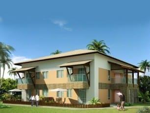 Perspectiva do apartamento 2 quartos com 58m² de área privativa do condomínio fechado Ponta de Inhambupe, localizado em uma das melhores praias da Bahia, Praia de Baixio.