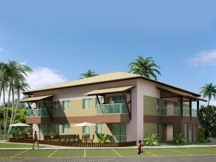 Perspectiva do apartamento 2 quartos com 68m² de área privativa do condomínio fechado Ponta de Inhambupe, localizado em uma das melhores praias do litoral da Bahia, Praia de Baixio.